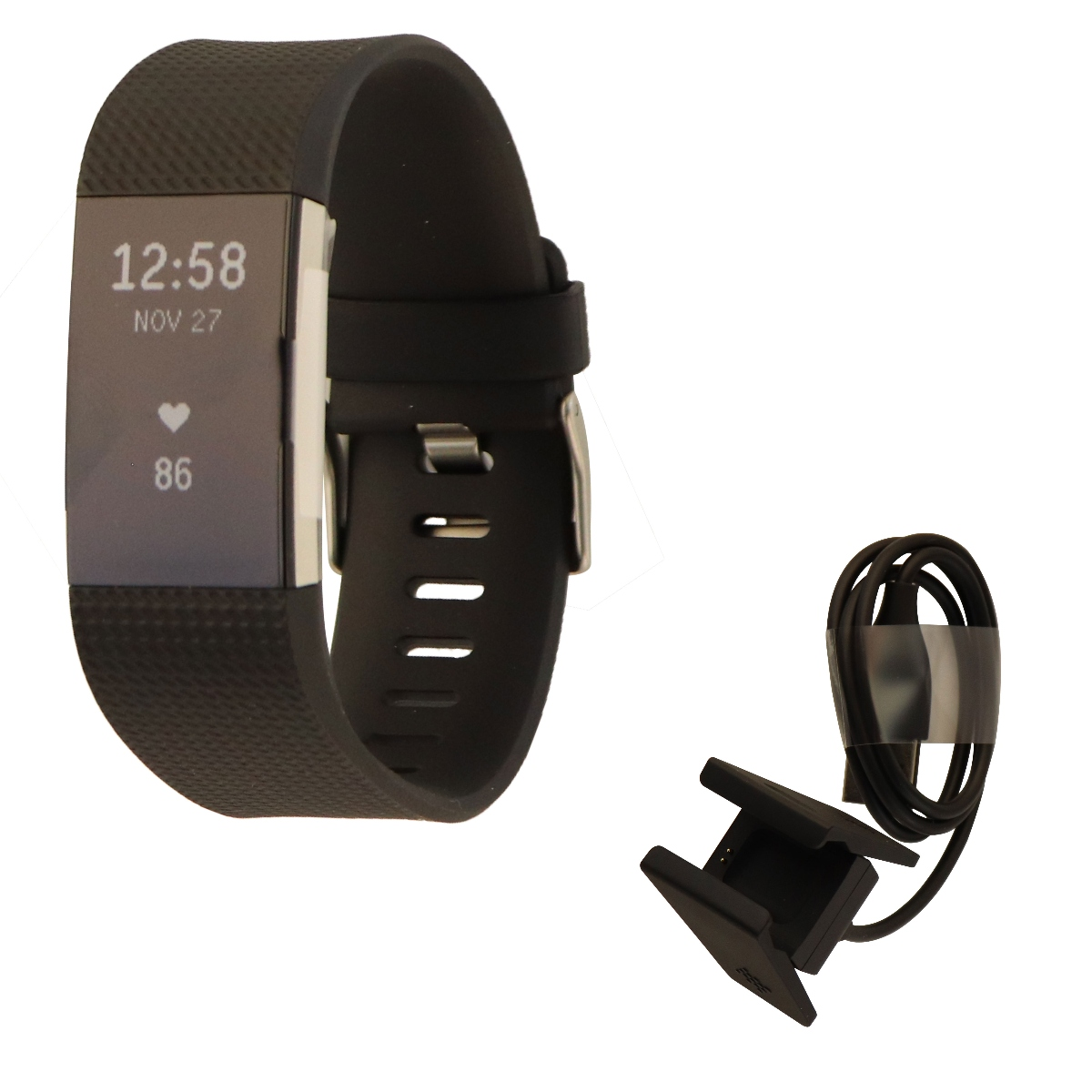 Fitbit Charge 2 Heart Rate + Fitness Wristband Watch, Black, Large (US Version)
