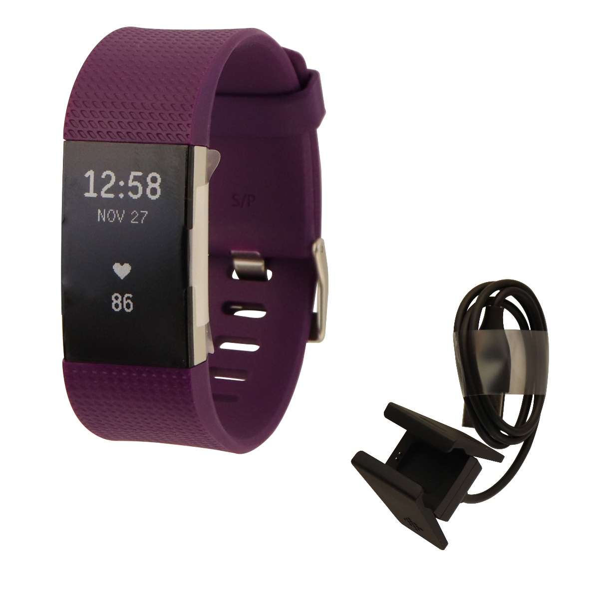 Fitbit Charge 2 Heart Rate + Fitness Wristband Watch, Plum, Small (US Version)