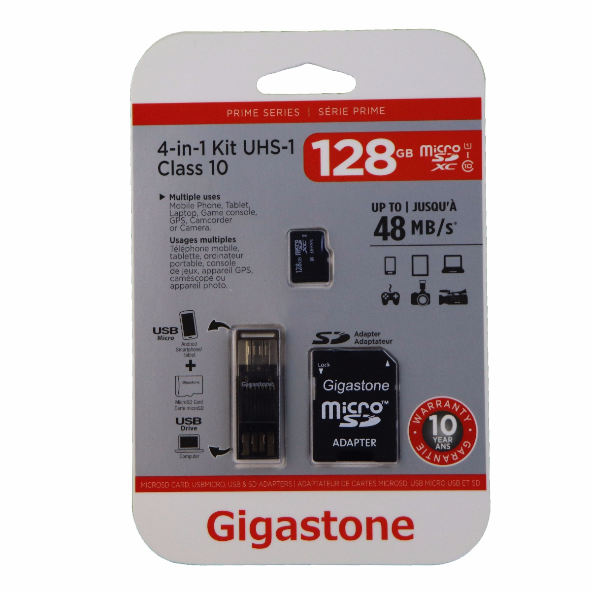 Gigastone 4-in-1 128GB MicroSD Kit with USB and Micro-USB Card Reading Adapter