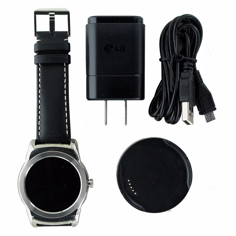 LG Urbane SmartWatch (W150) for Android and iOS - Silver / Black Leather