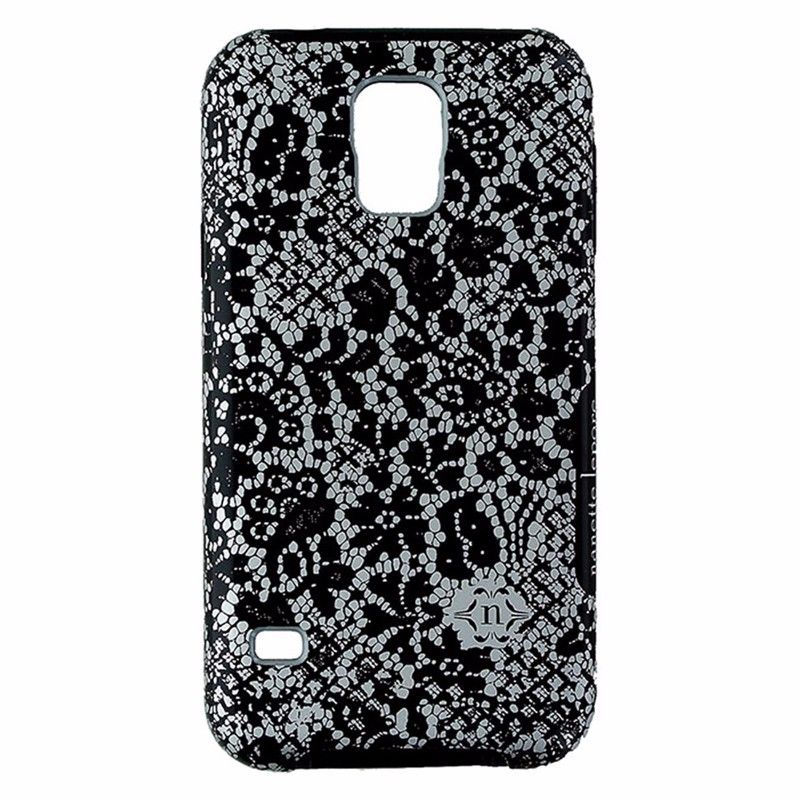 Nanette Lepore Dual Layer Case for Samsung Galaxy S5 Black and Gray Lace Design