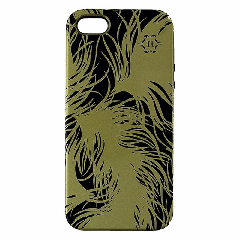 Nanette Lepore Dual Layer Case for iPhone 5/5S/SE - Black and Gold - Feathers