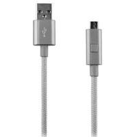 Verizon Braided 4FT USB to Micro-USB Charge-and-Sync Cable w/ LED Light - Gray