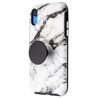 OtterBox + Pop Symmetry Series Phone Case for iPhone XR - White Marble