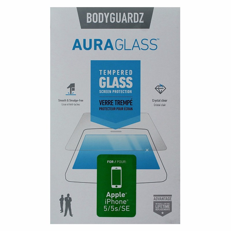 BodyGuardz AuraGlass Tempered Glass Screen Protector for iPhone SE/5s/5 - Clear