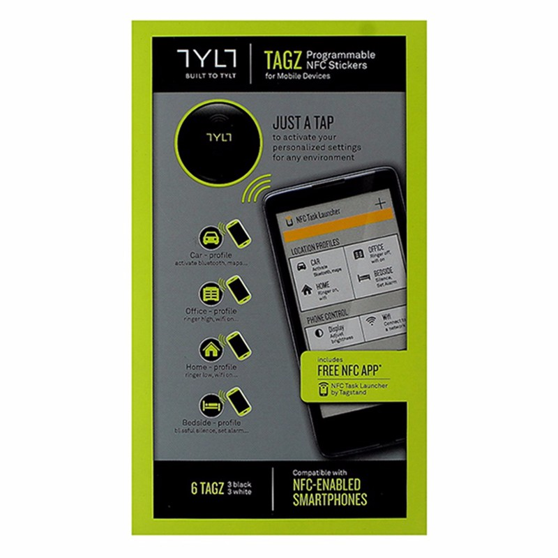 TYLT Programmable NFC TAGZ for Mobile Devices - White / Black