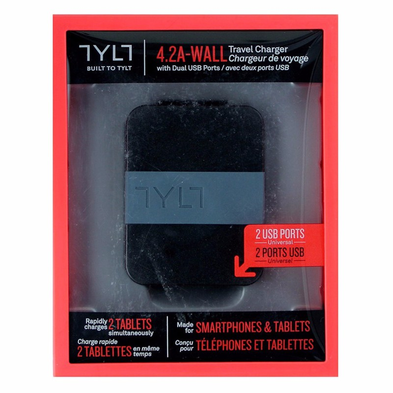 TYLT Universal 4.2A Wall Travel Charger with Dual USB Ports - Black/Gray