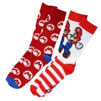 BioWorld 2 Pair of Super Mario Crew Socks - Sock Size (10 - 13)