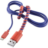 Modal 4-Ft Twist USB Cable with Universal Micro-USB Connector - Blue/Red