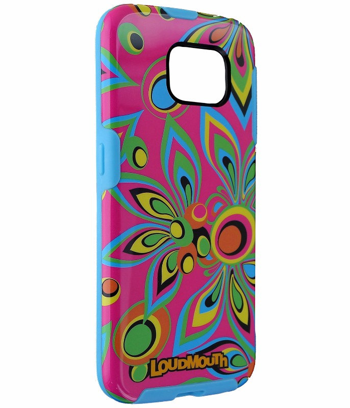 M-Edge LoudMouth Hybrid Case Cover for Samsung Galaxy S6 - Pink/Neon Flowers