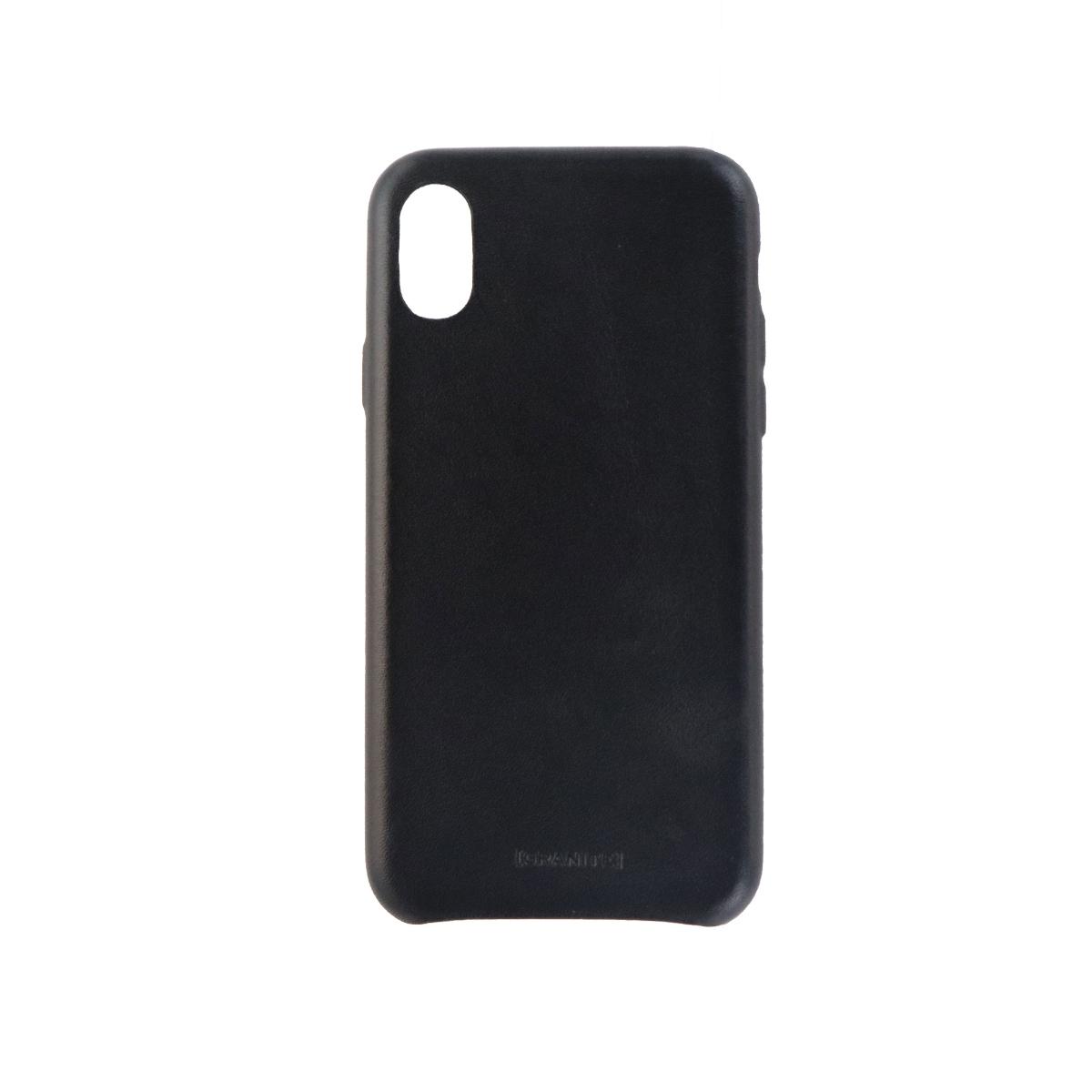 Granite Slim Genuine Leather Case Cover for Apple iPhone X 10 - Black Leather
