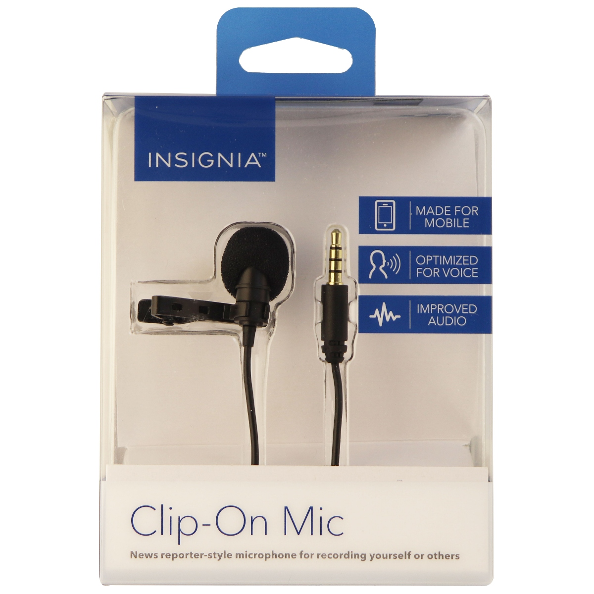 Insignia Clip on Mic Made for Mobile, Optimized for Voice, Improved Audio, Black