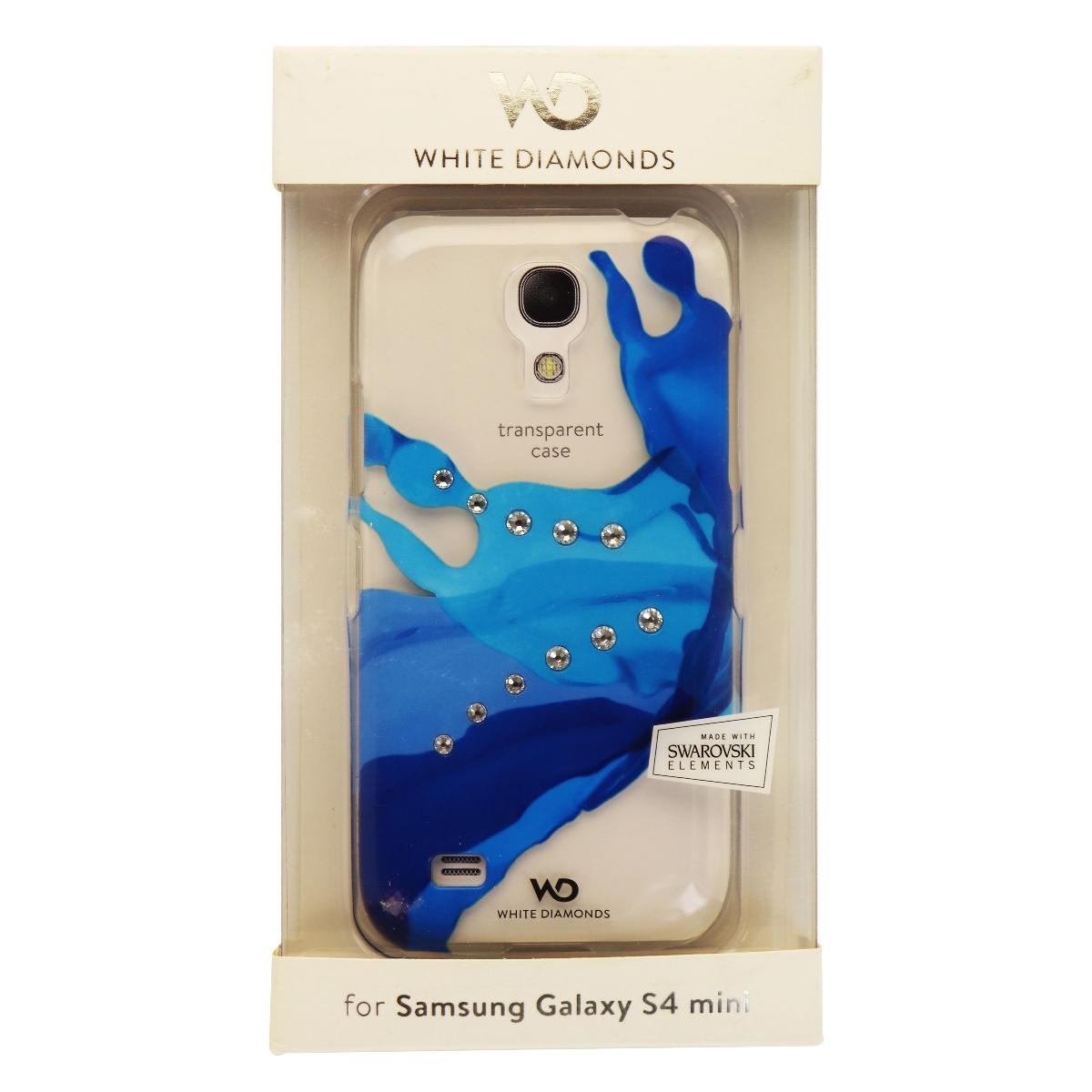 White Diamonds Transparent Case Cover for Galaxy S4 Mini - Blue Diamond Clear