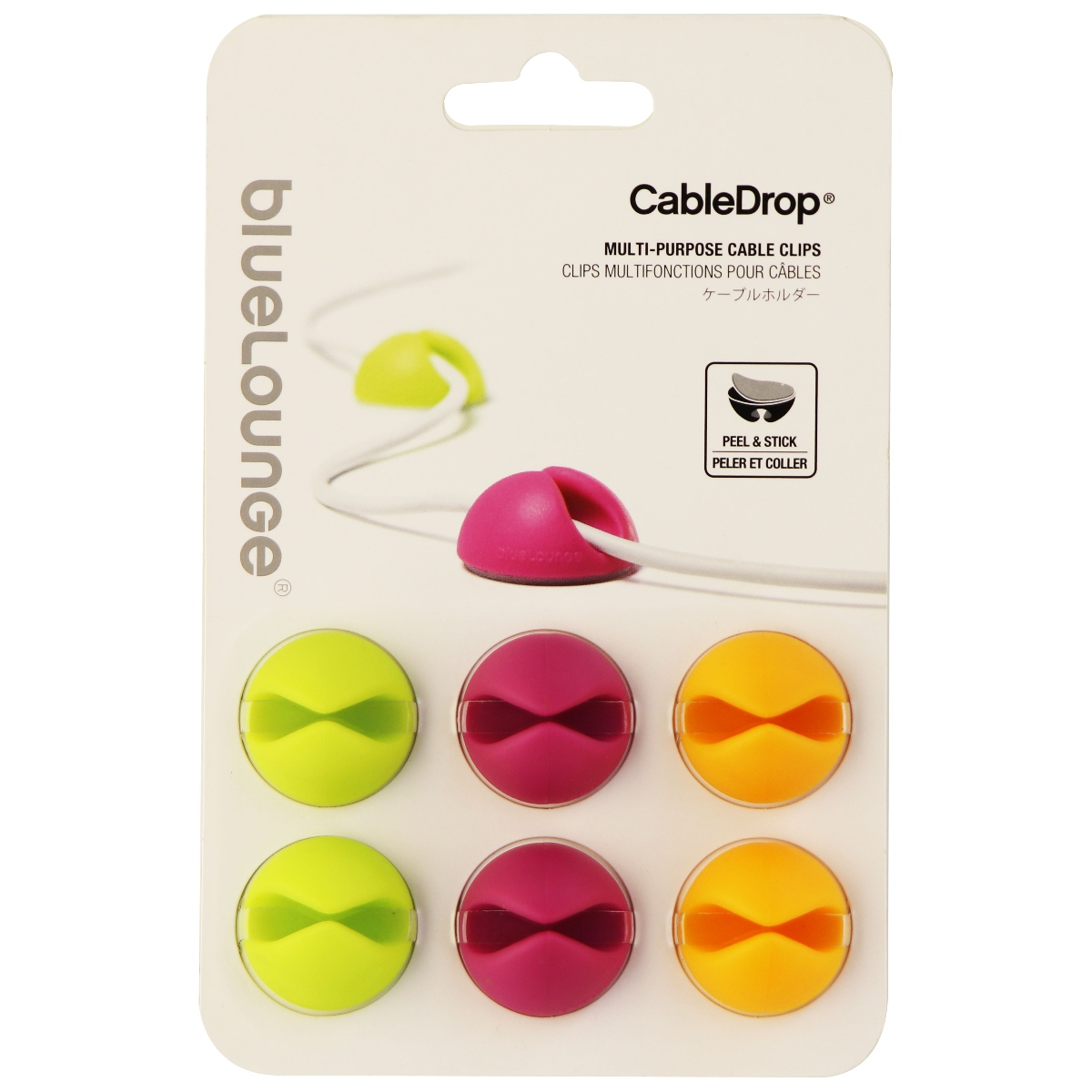 Bluelounge Design CableDrop Cable Management System - Multi Colored 6 Pack