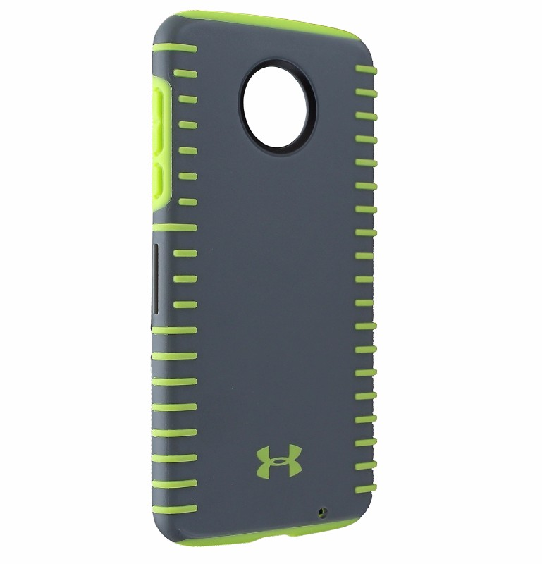 Under Armour Grip Series Hybrid Case Cover for Moto Z2 Force - Gray/Neon Yellow