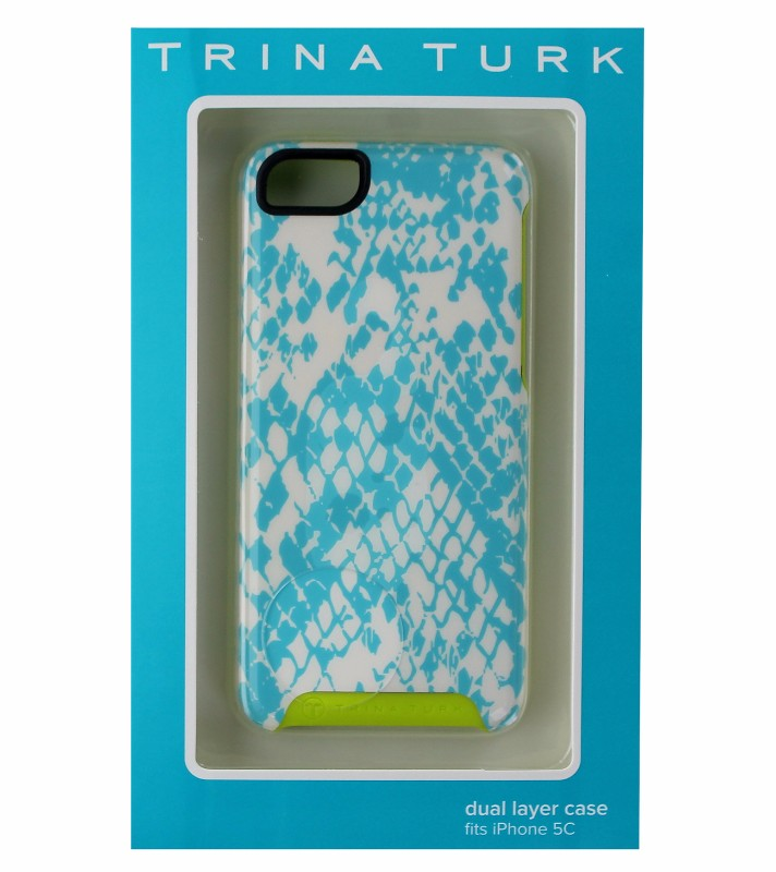 Trina Turk Dual Layer Case Cover for iPhone 5C - White and Blue Snake/Green