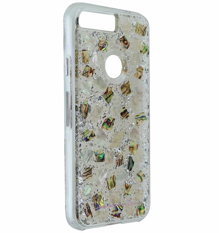 Case-Mate Karat Pearl Slim Case Cover for Google Pixel 5 - Clear / Silver Flake