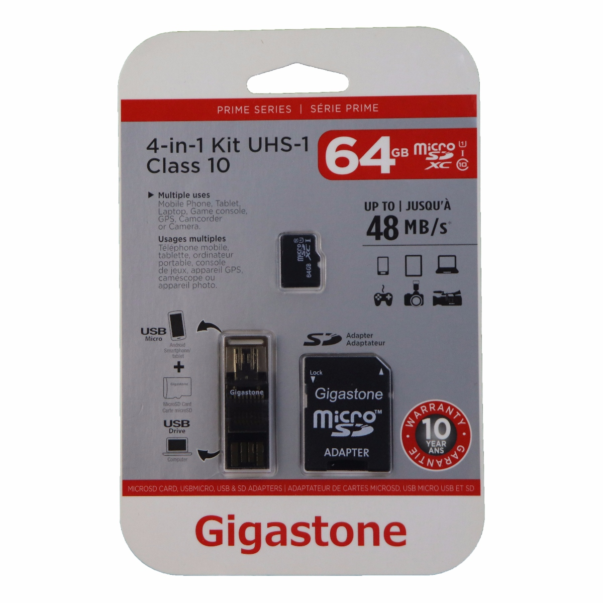 Gigastone 4-in-1 64GB MicroSD Kit with USB and Micro-USB Card Reading Adapter