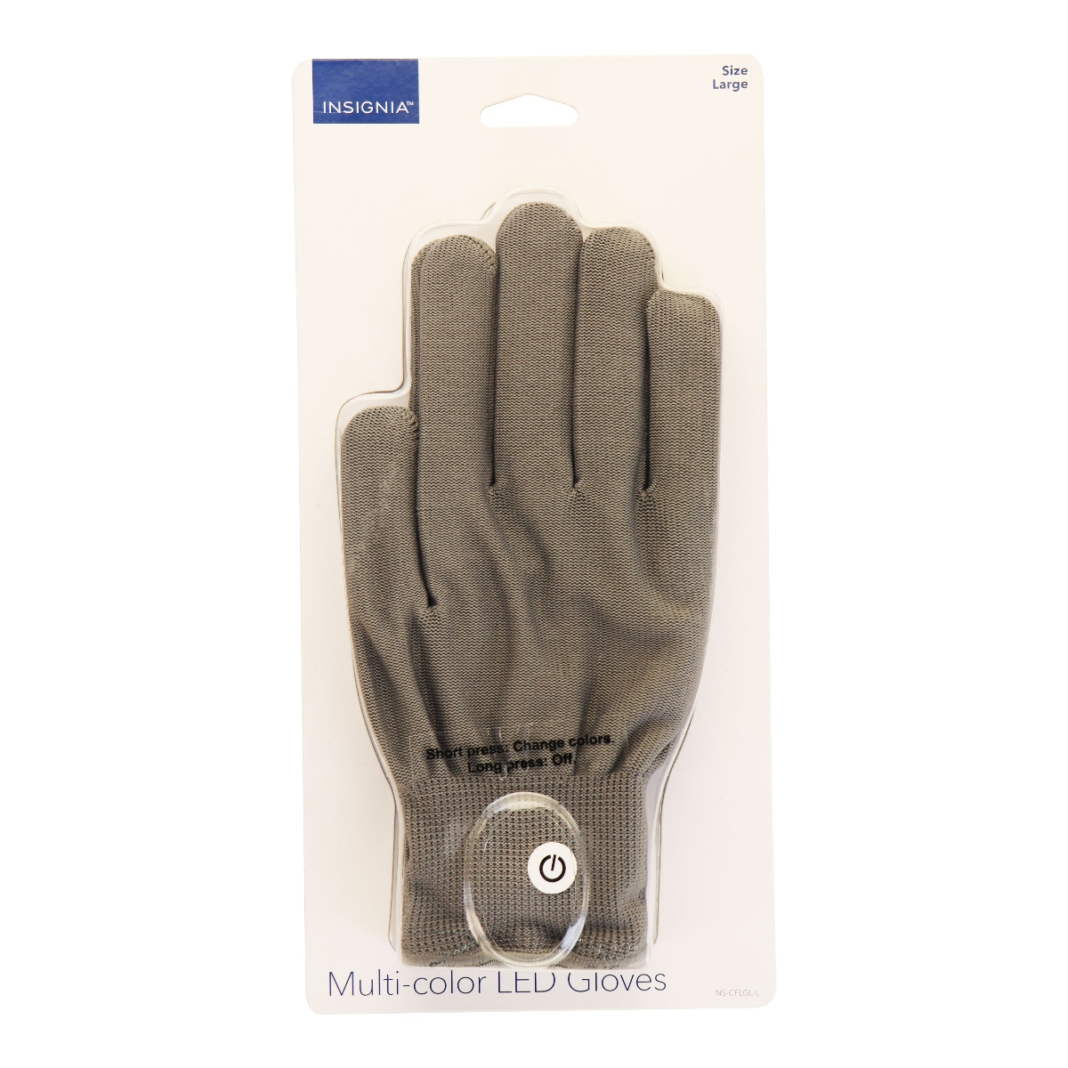 Insignia Multi-color LED Gloves with Lights - Large Size (NS-CFLGL-L) Gray