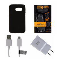 OEM Cable/Adapter + Screen Protector KIT w/ Insignia Black Gel Case for S6 Edge