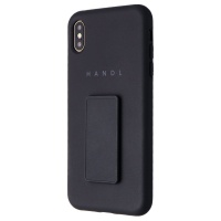 HANDL Soft Touch Phone Case with Supporting Stand/ Grip for iPhone Xs Max- Black
