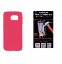 Insignia Hot Pink Case and Qmadix Glass Screen Protector for Samsung Galaxy S6