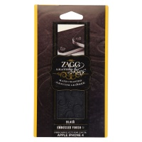 ZAGG Leather Skin for iPhone 4 Back Glass Protector - Black Embossed Design