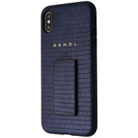 HANDL Hard Case with Handle/Grip for Apple iPhone Xs Max - Navy Croc Skin Blue