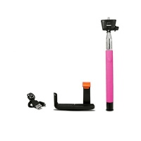 iPlanet Bluetooth Monopod Selfie Stick for Smartphones iOS/Android - Hot Pink