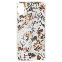 Kate Spade Hardshell Case for Apple iPhone XS / X - Pink & Gold Flowers w/ Gems