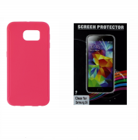 Screen Protector + Insignia Hot Pink Case for Samsung Galaxy S6