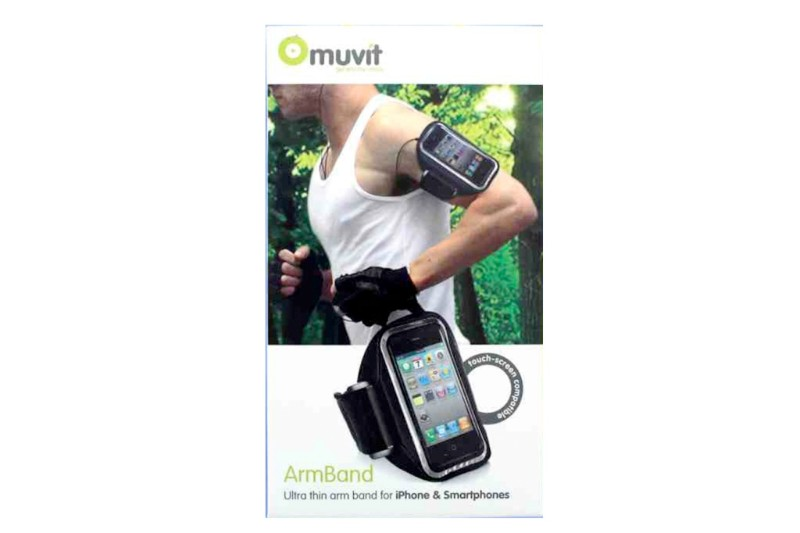 Muvit Large Ultra Thin ArmBand Fits Iphone and Android Smartphones - Black