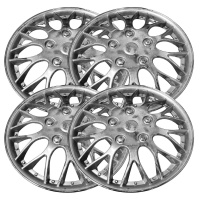4 Silver Color Plastic Hub-Cap Rims (KT-970) 15-inch