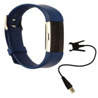 Fitbit Charge 2 Heart Rate + Fitness Wristband (US Version) - Large Band - Blue