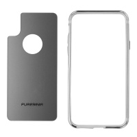 PureGear GlassBak 360 Series Bumper Case and Glass Backing for iPhone X - Silver