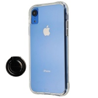 Case-Mate Tough Clear Case and Metal Ring Grip for Apple iPhone XR - Clear/Black
