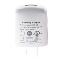 5V - 1A Single USB Wall Charger/Adapter (HJ-0501000B2-US) - White