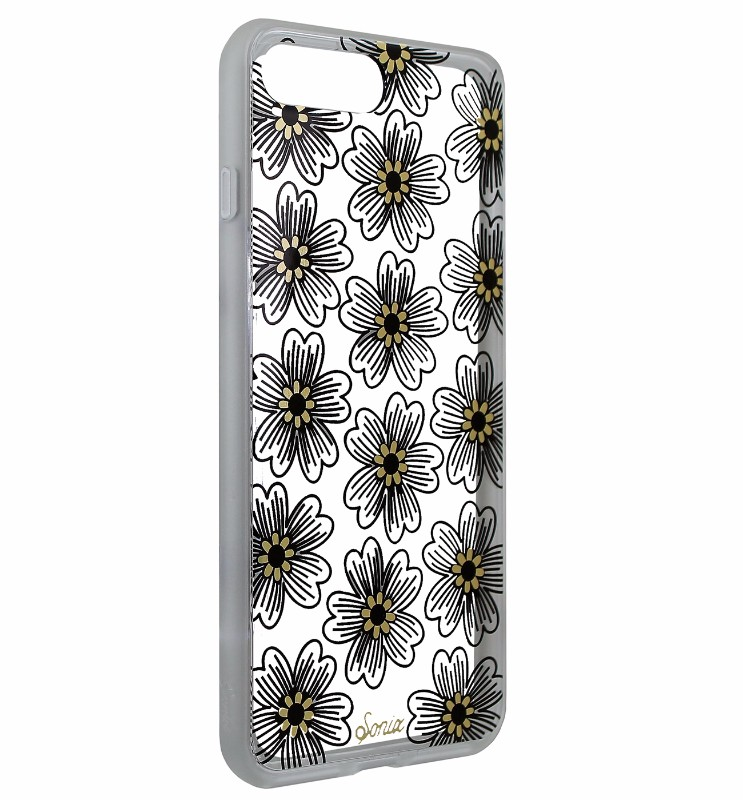 Sonix Clear Coat Series Case Cover for iPhone 7 Plus/8 Plus Clear/Black Flowers