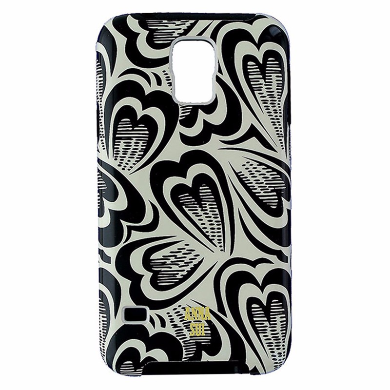 Anna Sui Dual Layer Case for Galaxy S5 - Beige and Black - Hearts