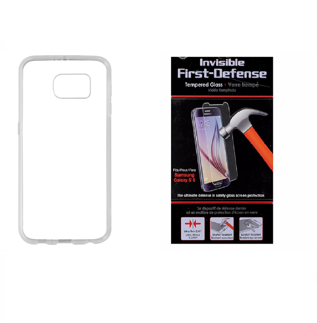Insignia Clear Case and Qmadix Glass Screen Protector for Samsung Galaxy S6