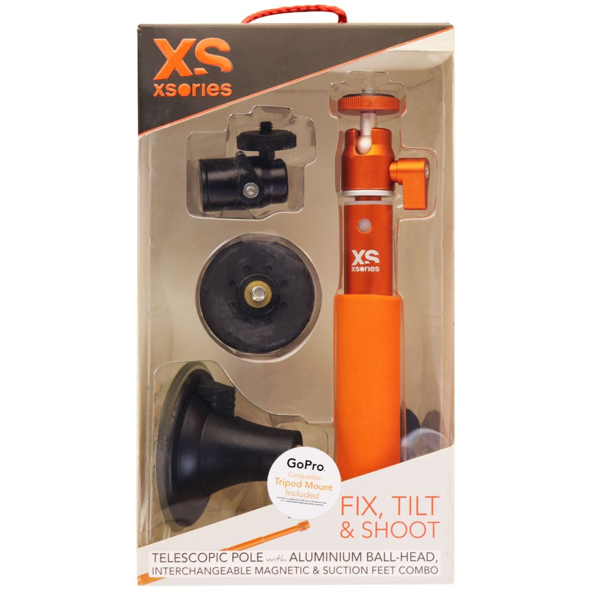 XSories Fix, Tilt & Shoot Kit with Telescopic Pole & 1/4inch Ball