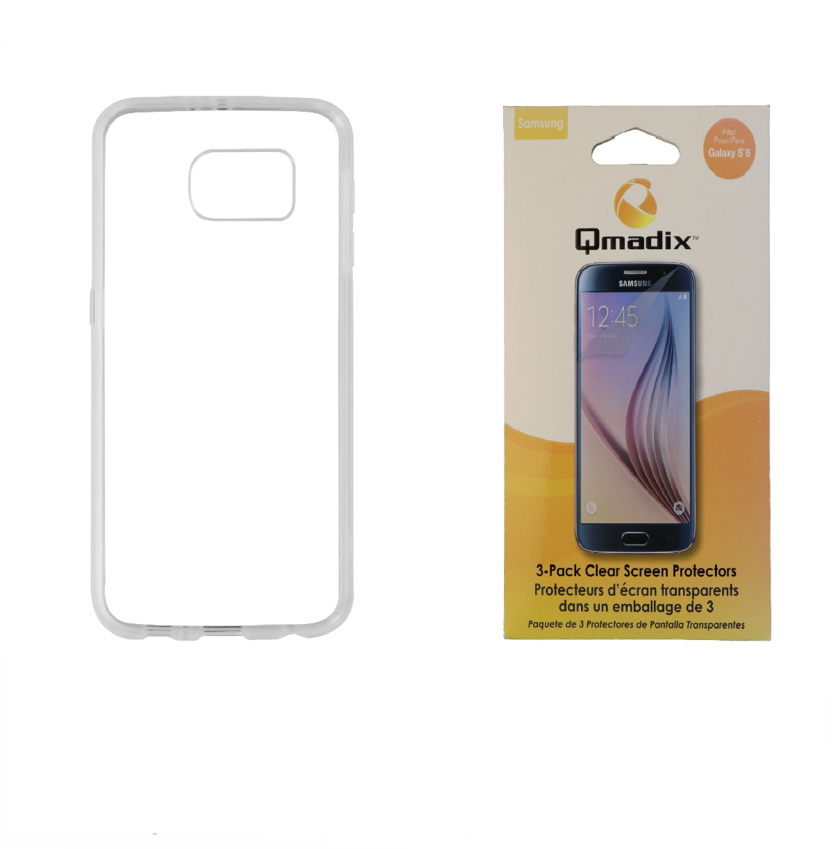 Insignia Clear Case + Qmadix Screen Protector 3 Pack for Samsung Galaxy S6