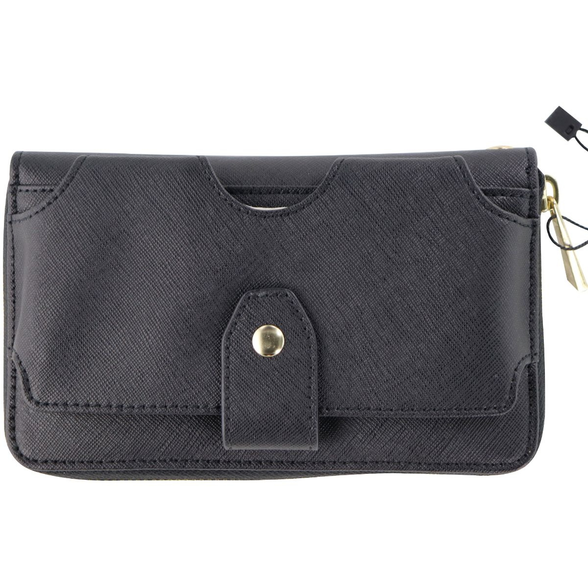 Universal Wallet Case with Wristlet Strap and Zippered Storage Area - Black