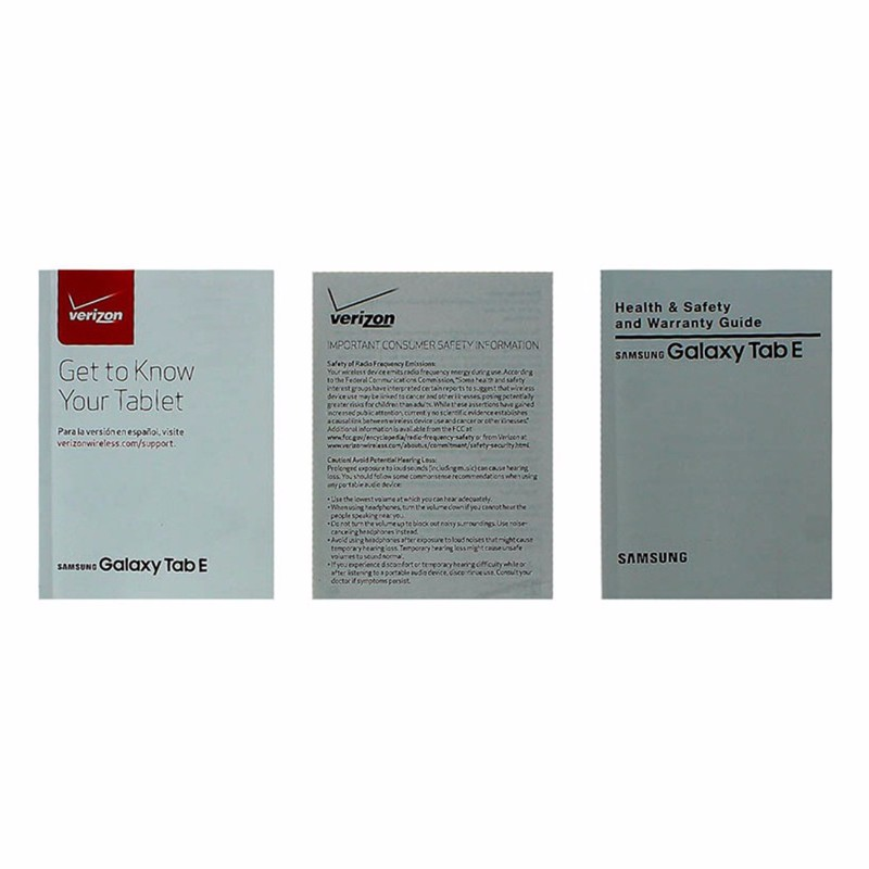 Manual and Information Pack for Samsung Galaxy Tab E - Verizon Branded