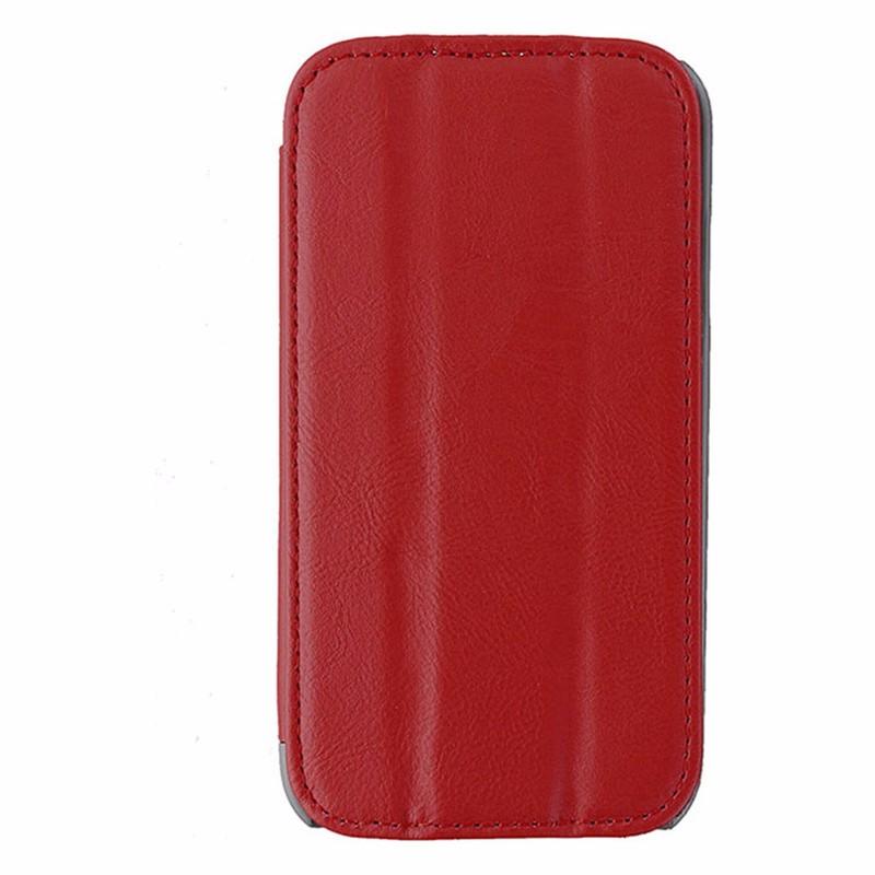 Reiko Leather Folio Flip Case for Samsung Galaxy S4 - Red / Gray
