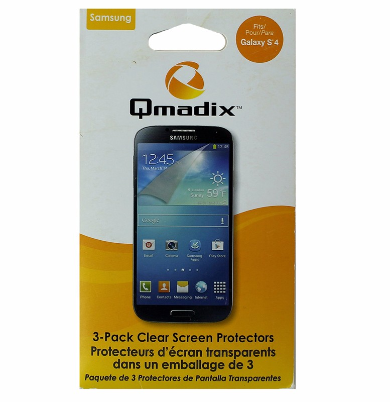 Qmadix Screen Protector 3 Pack for Samsung Galaxy S4 - Clear