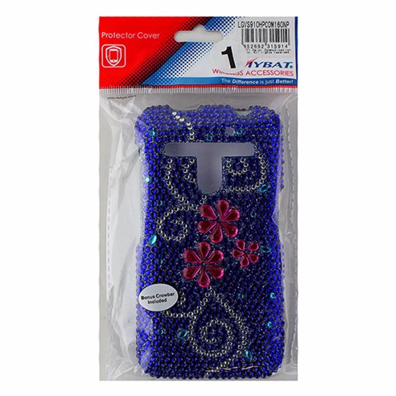 MyBat 2 Piece Shell Jewelled Case for LG Revolution VS910 - Blue / Pink Flowers