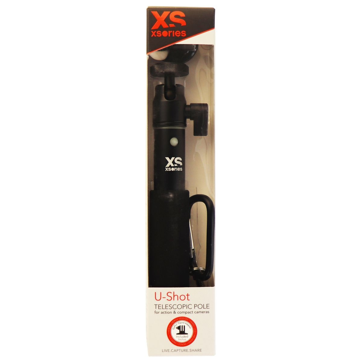 XSories U-Shot 19-in Telescopic Pole w/ 1/4-inch Mount and GoPro Adapter - Black