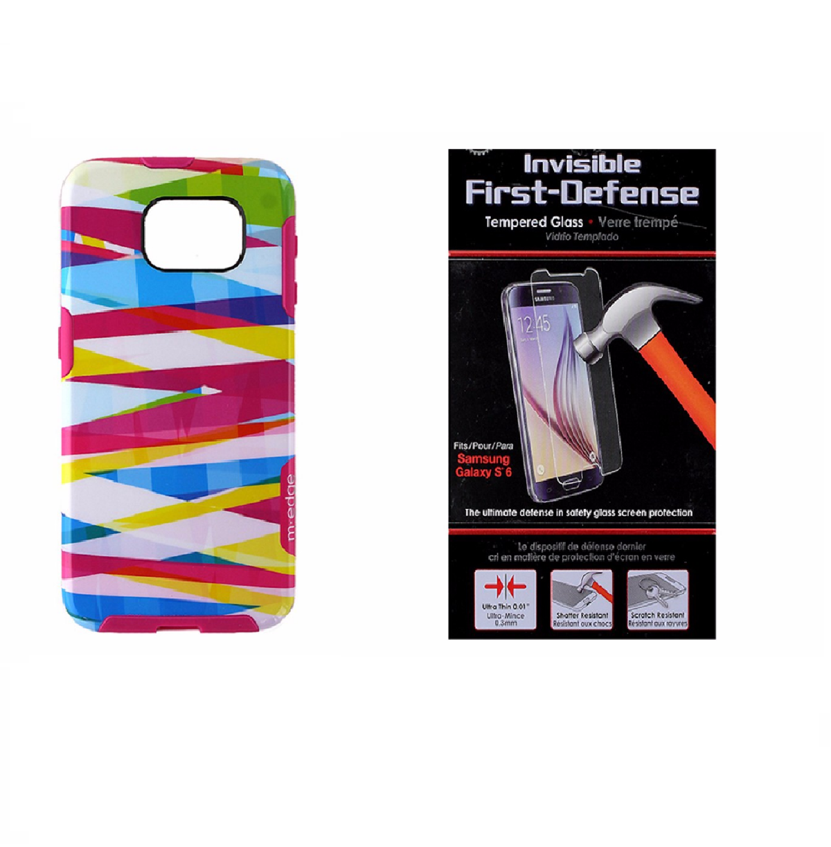M-Edge Multicolor Case and Qmadix Glass Screen Protector for Samsung Galaxy S6