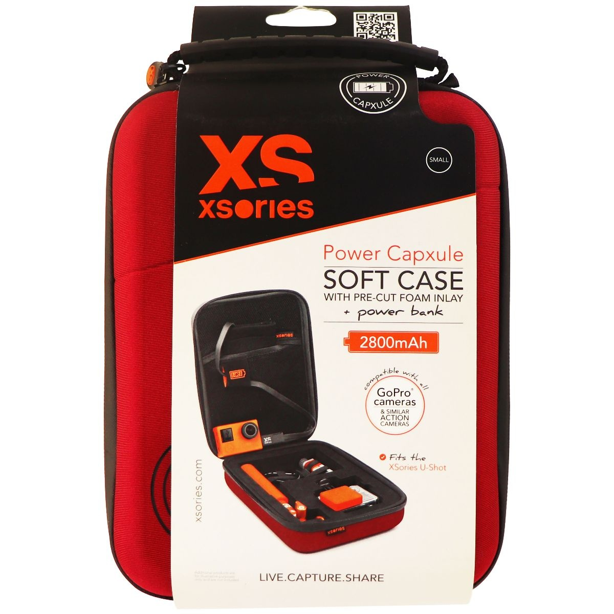 XSories Power Capxule Soft Case with Pre-Cut Foam Inlay for GoPro Cameras - Red
